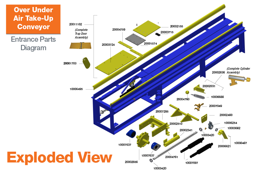 Over Under Air Take-Up Conveyor Exploded View