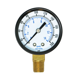 Gauge, 0-200 1/4in Bottom Mount
