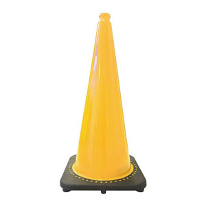Traffic Cone, 28in Yellow 7lb Black Base