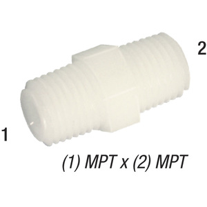 Nipple M12 Nylon 1/2in MPT x 1/2in MPT