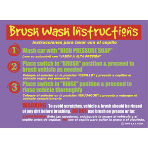 Brush Wash Instructions Sign 24in x 18in